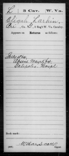 Larkin, Eligah - Age [Blank], Year: 1864 - Miscellaneous Card Abstracts of Records - West Virginia