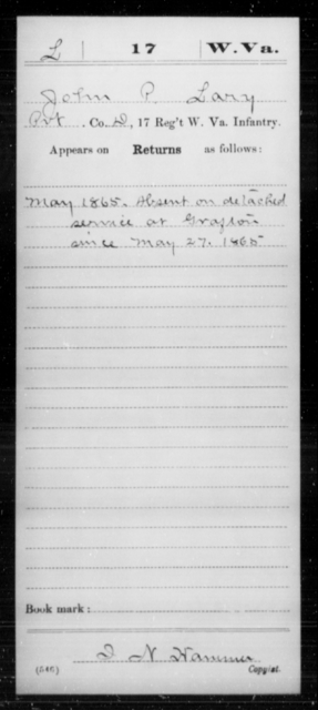Lary, John P - Age [Blank], Year: 1865 - Miscellaneous Card Abstracts of Records - West Virginia