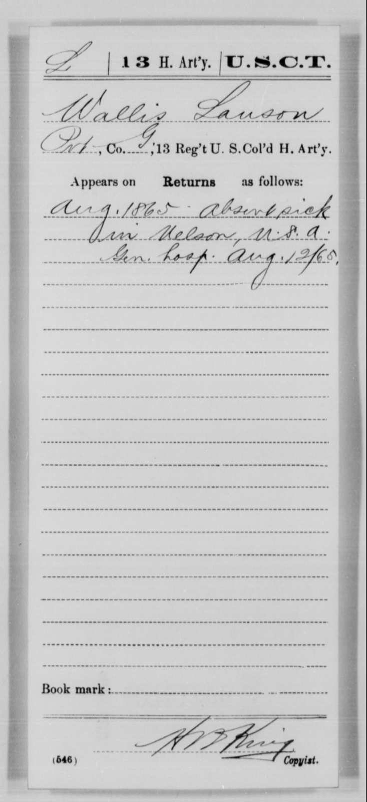 Lauson, Wallis - Age [Blank], Year: 1865 - 13th US Colored Heavy Artillery, Misc Cards - United States Colored Troops: Artillery Organizations