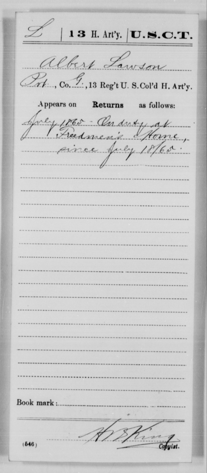 Lawson, Albert - Age [Blank], Year: 1865 - 13th US Colored Heavy Artillery, Misc Cards - United States Colored Troops: Artillery Organizations
