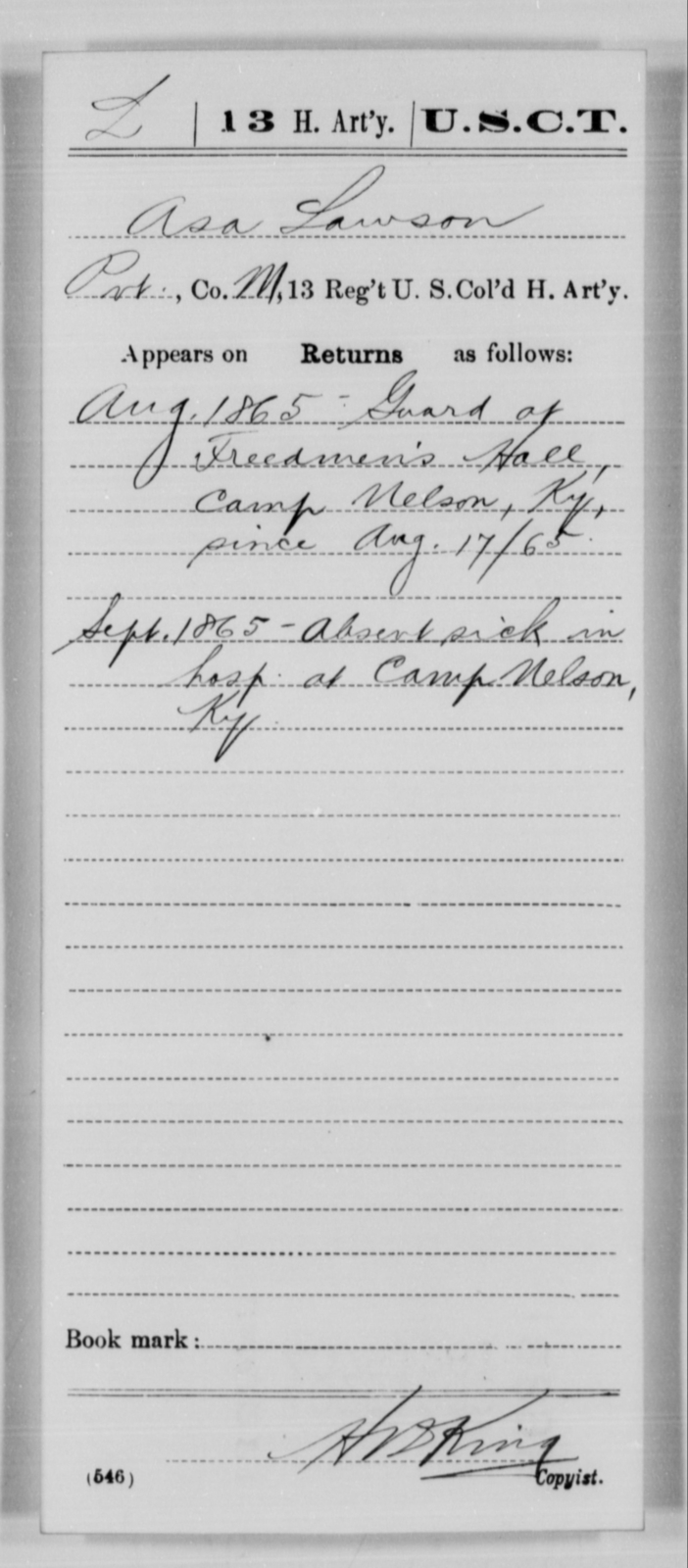 Lawson, Asa - Age [Blank], Year: 1865 - 13th US Colored Heavy Artillery, Misc Cards - United States Colored Troops: Artillery Organizations