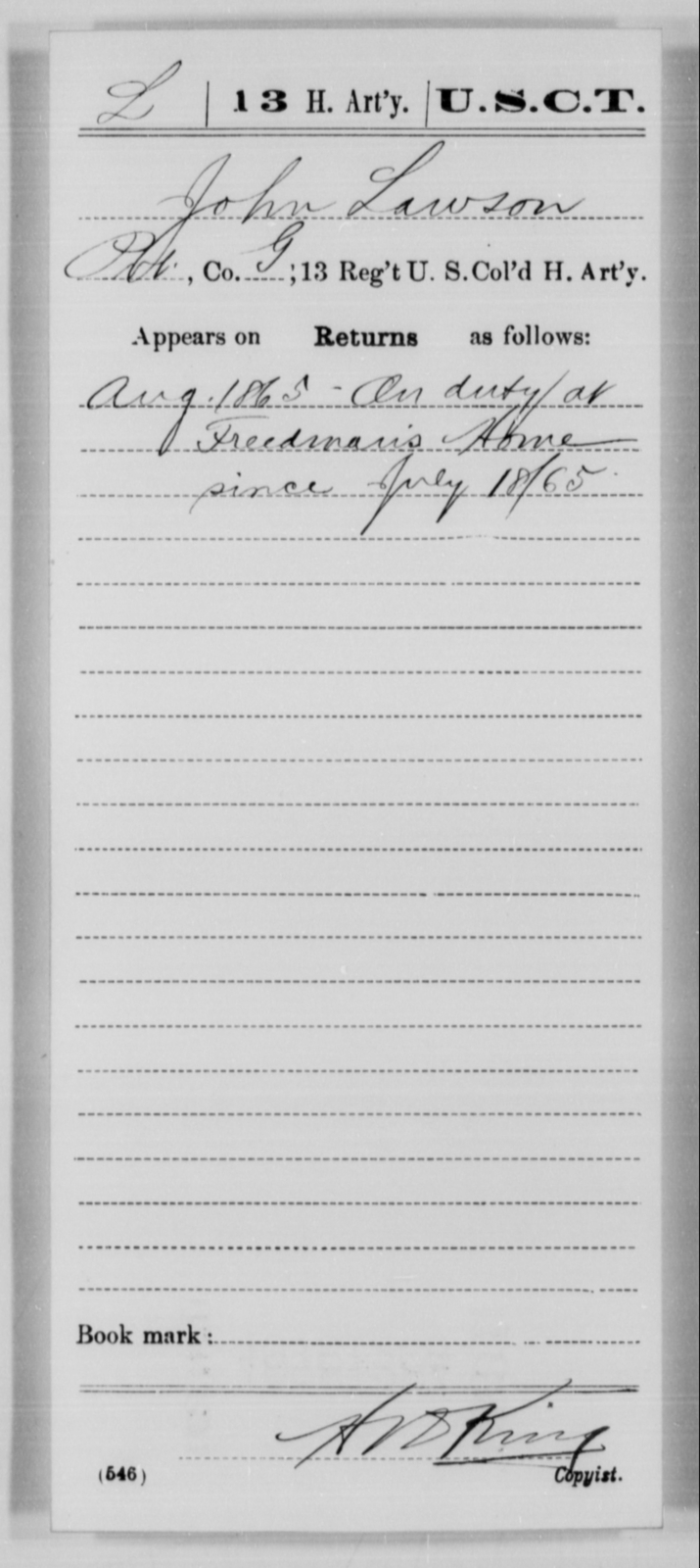 Lawson, John - Age [Blank], Year: 1865 - 13th US Colored Heavy Artillery, Misc Cards - United States Colored Troops: Artillery Organizations