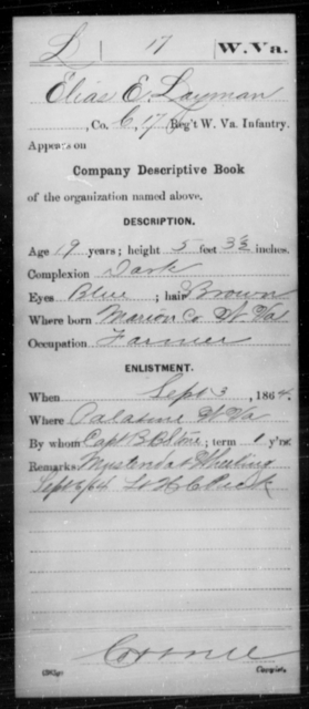 Layman, Elias E - Age 19, Year: 1864 - Miscellaneous Card Abstracts of Records - West Virginia