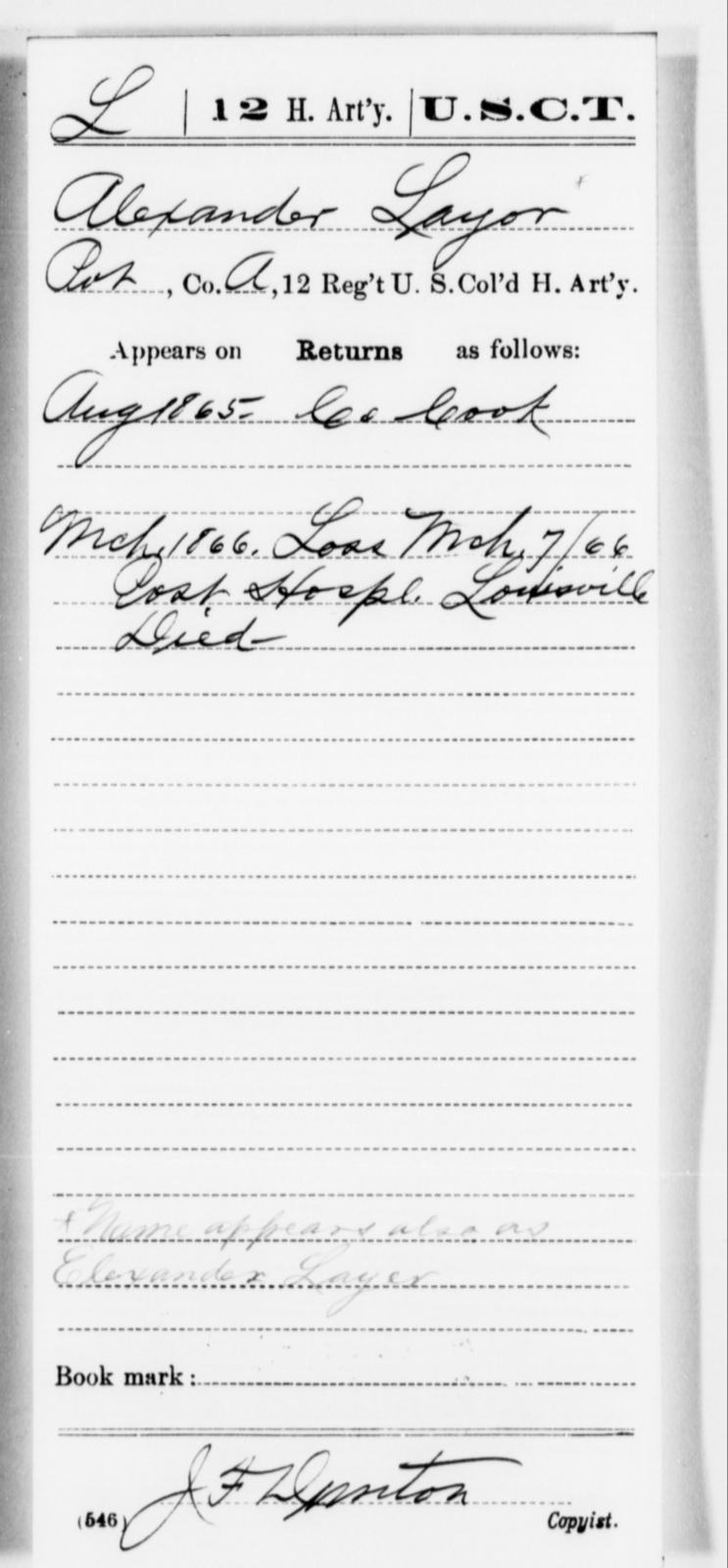 Layor, Alexander - Age [Blank], Year: 1865 - 12th US Colored Heavy Artillery, Misc Cards, H-Y - United States Colored Troops: Artillery Organizations