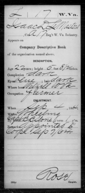 Le Masters, Isaac D - Age 22, Year: 1864 - Miscellaneous Card Abstracts of Records - West Virginia