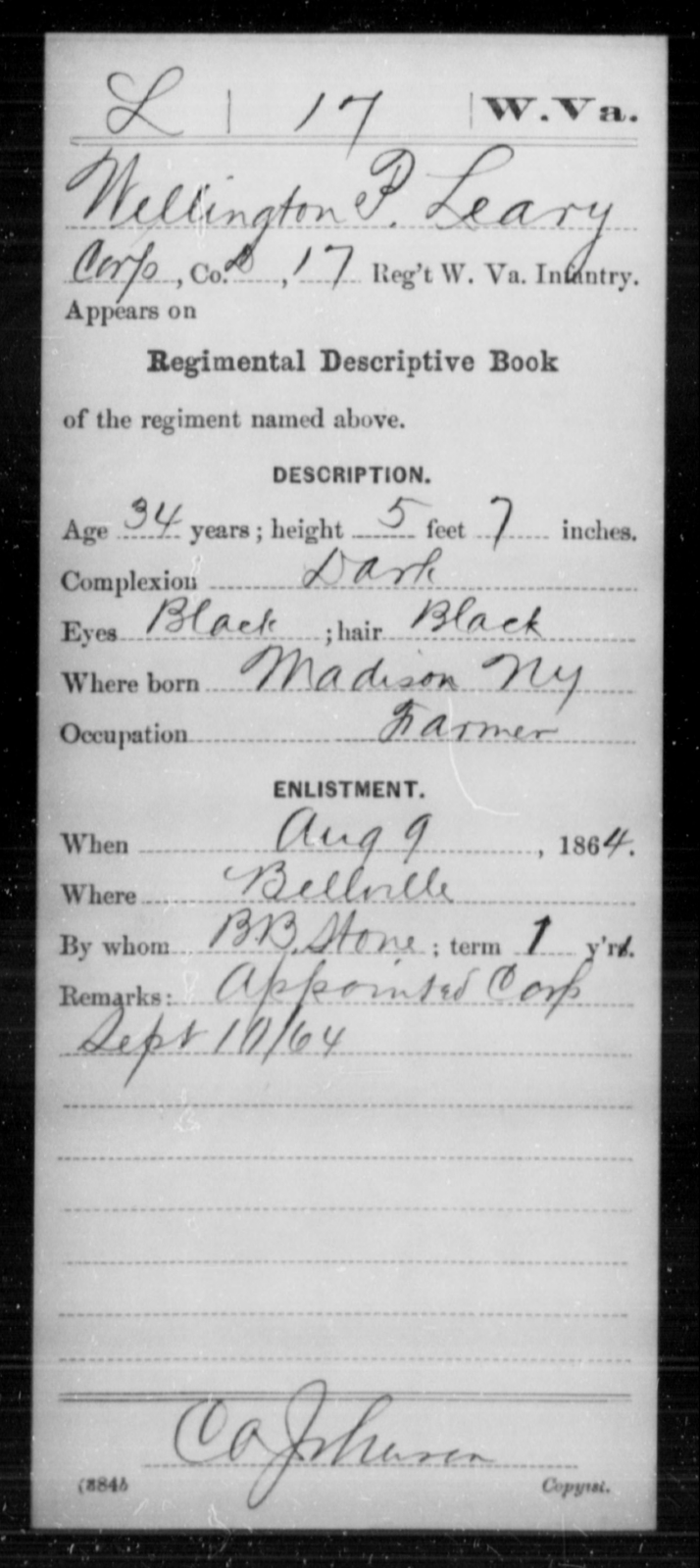 Leary, Wellington P - Age 34, Year: 1864 - Miscellaneous Card Abstracts of Records - West Virginia