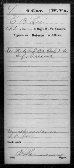 Lee, C B - Age [Blank], Year: 1861 - Miscellaneous Card Abstracts of Records - West Virginia
