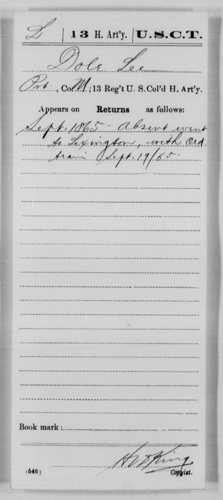 Lee, Dole - Age [Blank], Year: 1865 - 13th US Colored Heavy Artillery, Misc Cards - United States Colored Troops: Artillery Organizations