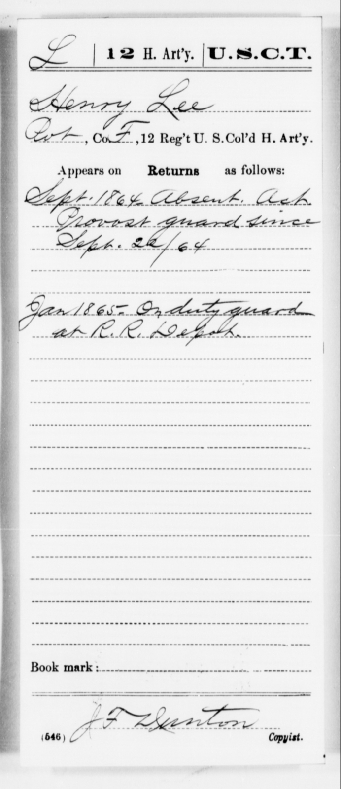 Lee, Henry - Age [Blank], Year: 1864 - 12th US Colored Heavy Artillery, Misc Cards, H-Y - United States Colored Troops: Artillery Organizations