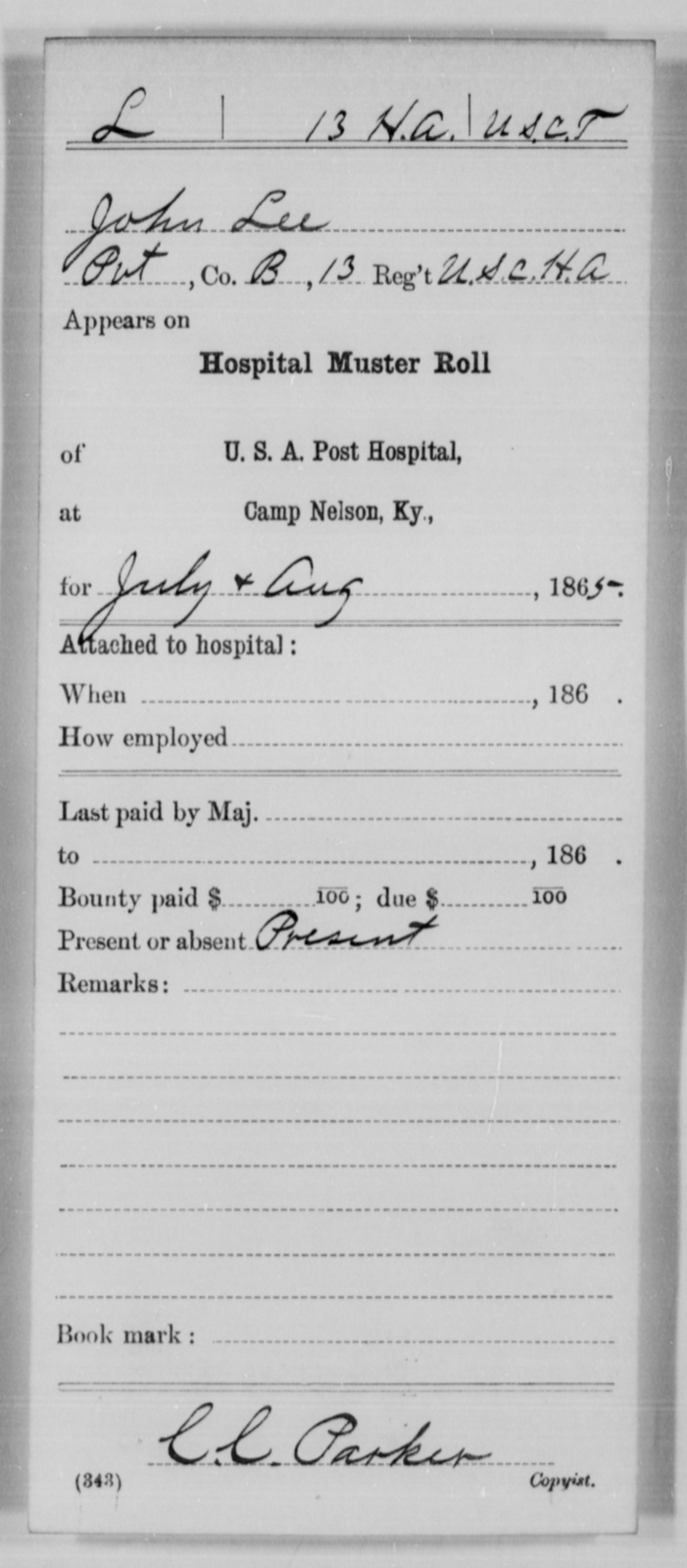 Lee, John - Age [Blank], Year: 1865 - 13th US Colored Heavy Artillery, Misc Cards - United States Colored Troops: Artillery Organizations