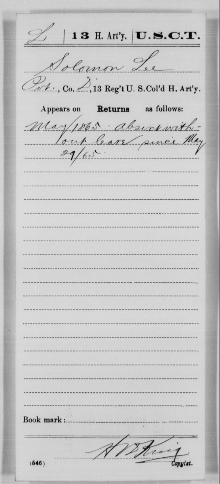 Lee, Solomon - Age [Blank], Year: 1865 - 13th US Colored Heavy Artillery, Misc Cards - United States Colored Troops: Artillery Organizations