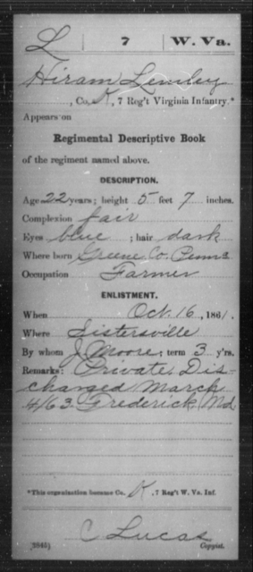 Lemley, Hiram - Age 22, Year: 1861 - Miscellaneous Card Abstracts of Records - West Virginia