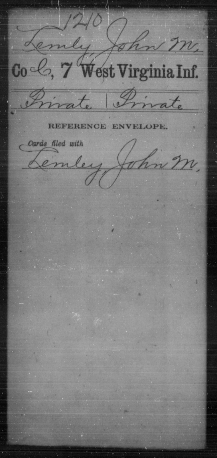 Lemly, John M - Age [Blank], Year: [Blank] - Seventh Infantry - West Virginia