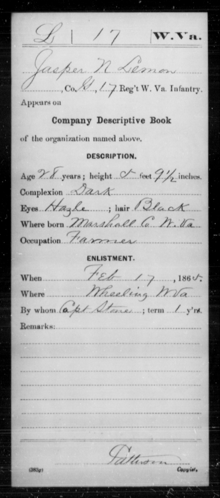 Lemon, Jasper N - Age 28, Year: 1865 - Miscellaneous Card Abstracts of Records - West Virginia