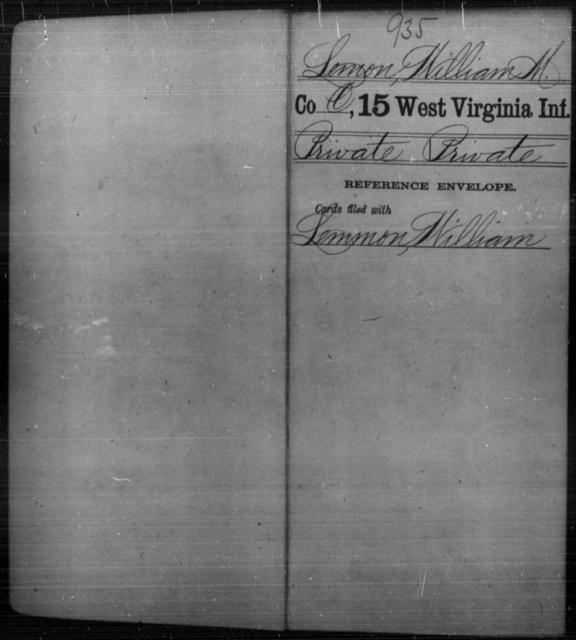 Lemon, William M - Age [Blank], Year: [Blank] - Fifteenth Infantry - West Virginia