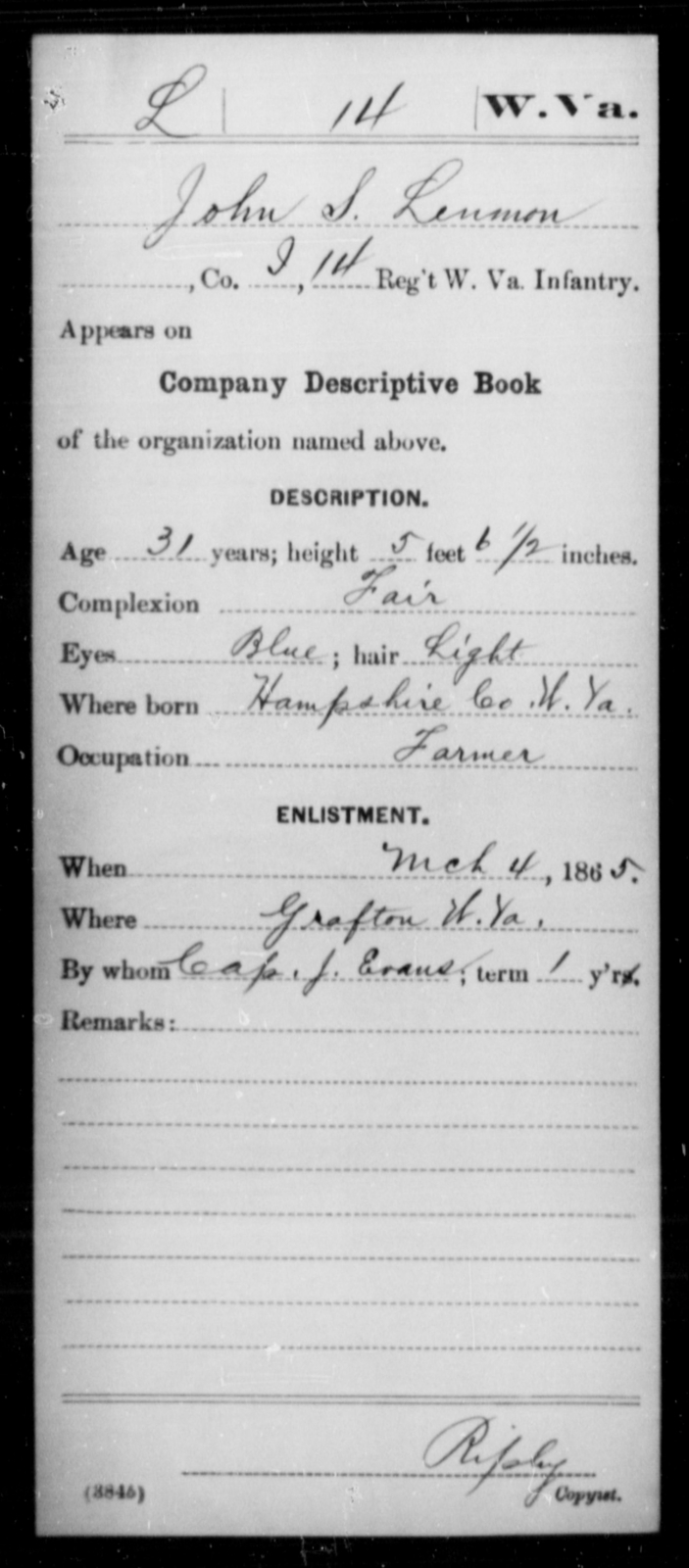 Lenmon, John S - Age 31, Year: 1865 - Miscellaneous Card Abstracts of Records - West Virginia