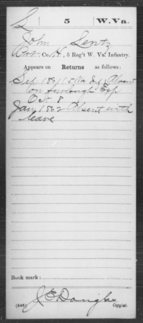 Lentz, John - Age [Blank], Year: 1861 - Miscellaneous Card Abstracts of Records - West Virginia