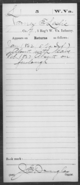Leslie, James E - Age [Blank], Year: 1862 - Miscellaneous Card Abstracts of Records - West Virginia