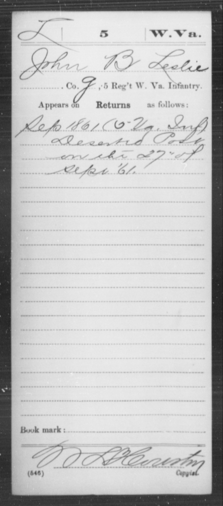 Leslie, John B - Age [Blank], Year: 1861 - Miscellaneous Card Abstracts of Records - West Virginia