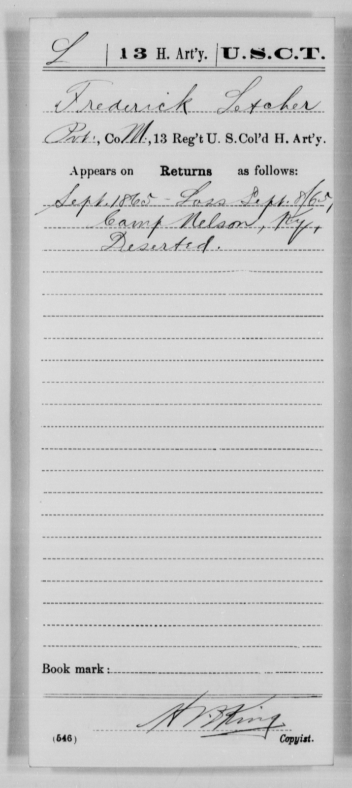 Letcher, Frederick - Age [Blank], Year: 1865 - 13th US Colored Heavy Artillery, Misc Cards - United States Colored Troops: Artillery Organizations