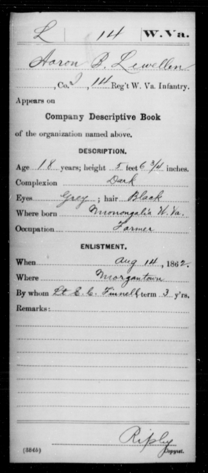 Lewellen, Aaron B - Age 18, Year: 1862 - Miscellaneous Card Abstracts of Records - West Virginia