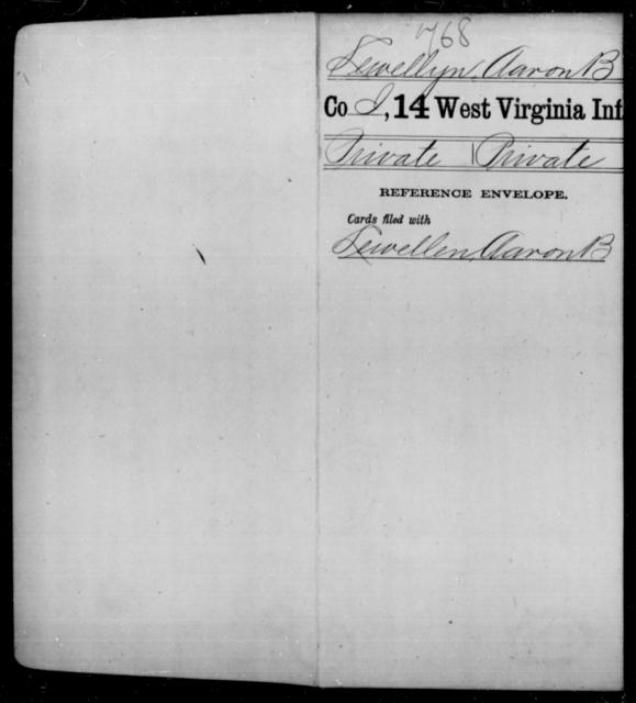 Lewellyn, Aaron B - Age [Blank], Year: [Blank] - Fourteenth Infantry, C-Z - West Virginia