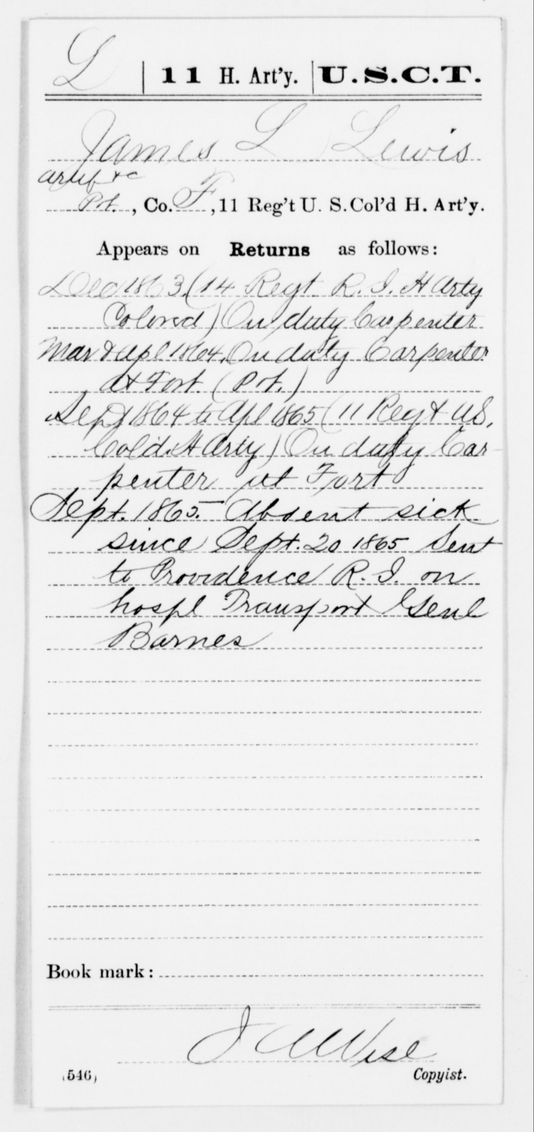 Lewis, James L - Age [Blank], Year: 1863 - 11th US Colored Heavy Artillery, Misc Cards, E-Y - United States Colored Troops: Artillery Organizations