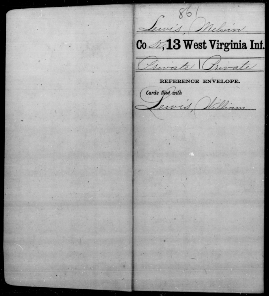 Lewis, Melvin - Age [Blank], Year: [Blank] - Thirteenth Infantry, A-W - West Virginia