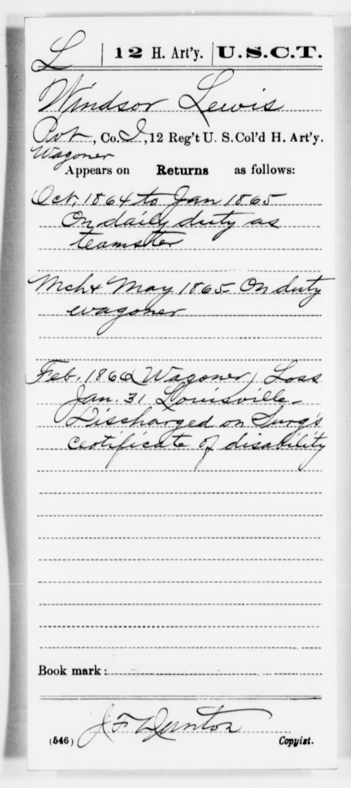 Lewis, Windsor - Age [Blank], Year: 1864 - 12th US Colored Heavy Artillery, Misc Cards, H-Y - United States Colored Troops: Artillery Organizations