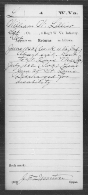 Lillier, William W - Age [Blank], Year: 1863 - Miscellaneous Card Abstracts of Records - West Virginia