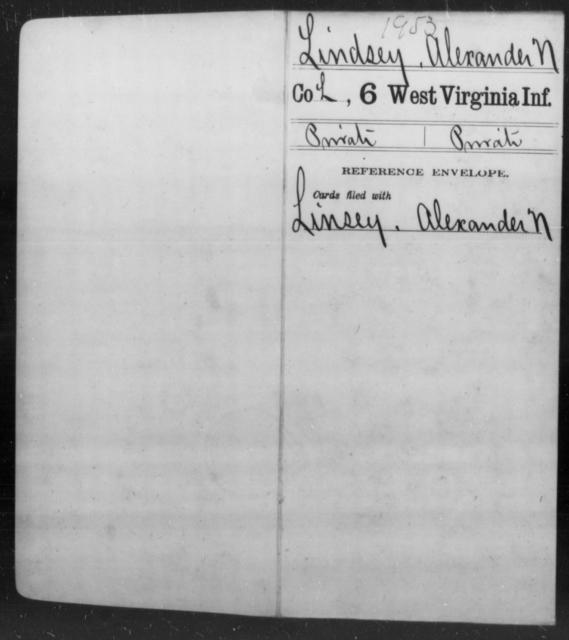 Lindsey, Alexander N - Age [Blank], Year: [Blank] - Sixth Infantry - West Virginia