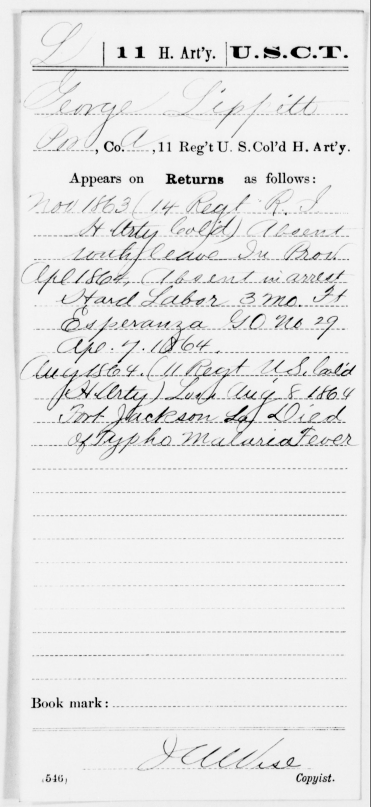 Lippitt, George - Age [Blank], Year: 1863 - 11th US Colored Heavy Artillery, Misc Cards, E-Y - United States Colored Troops: Artillery Organizations