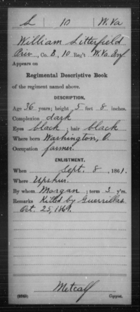 Litterfield, William - Age 36, Year: 1861 - Miscellaneous Card Abstracts of Records - West Virginia