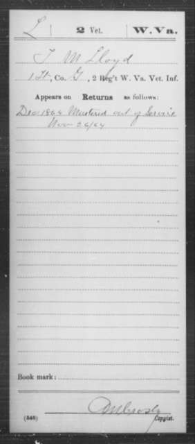 Lloyd, J M - Age [Blank], Year: 1864 - Miscellaneous Card Abstracts of Records - West Virginia