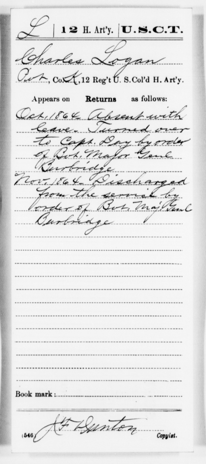 Logan, Charles - Age [Blank], Year: 1864 - 12th US Colored Heavy Artillery, Misc Cards, H-Y - United States Colored Troops: Artillery Organizations