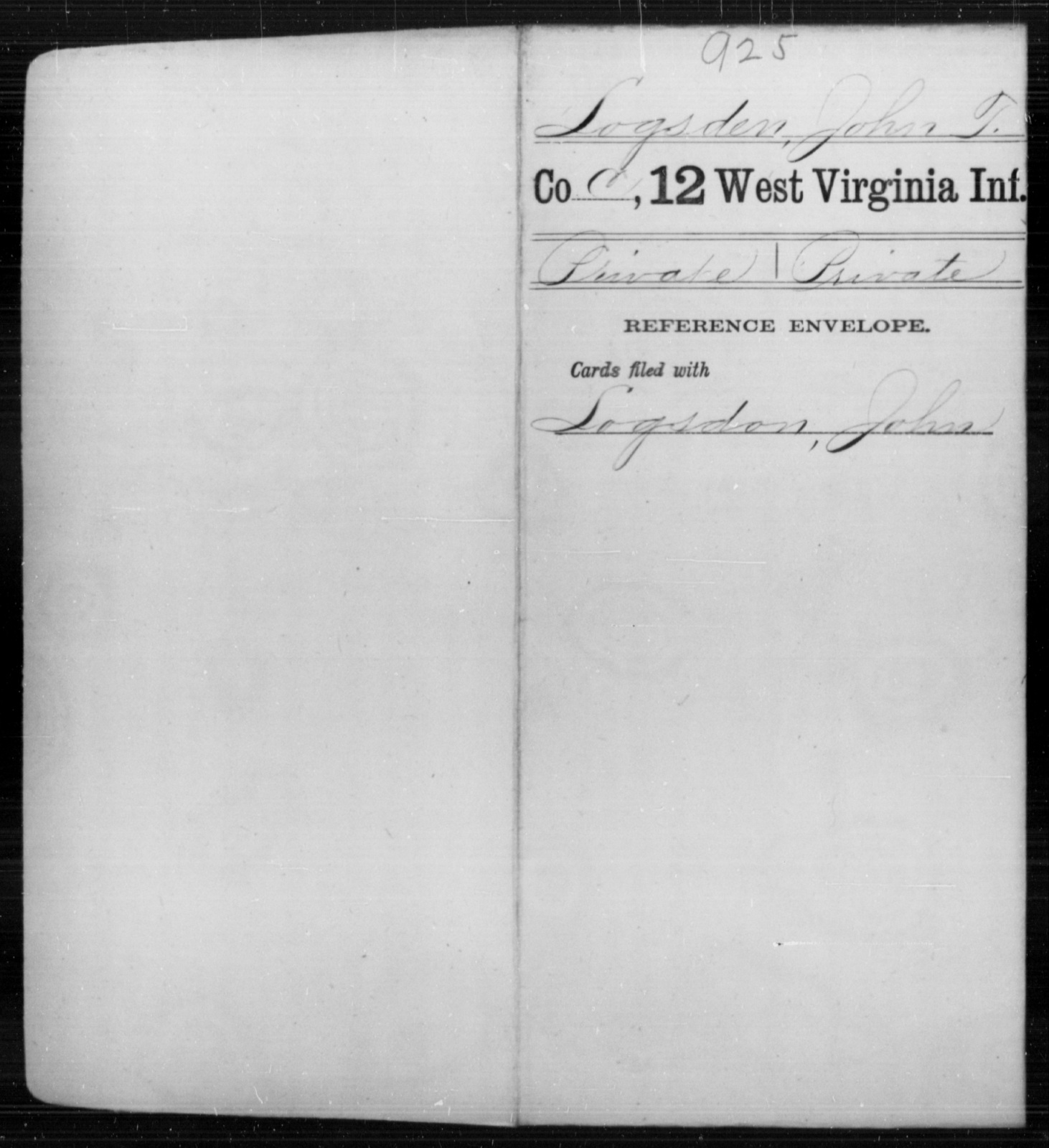 Logsden, John T - Age [Blank], Year: [Blank] - Twelfth Infantry - West Virginia