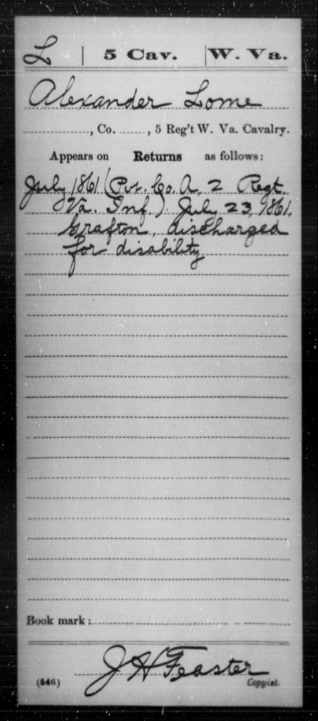 Lome, Alexander - Age [Blank], Year: 1861 - Miscellaneous Card Abstracts of Records - West Virginia