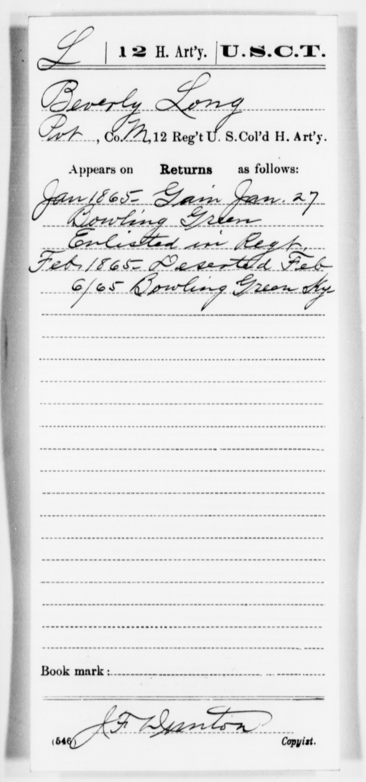 Long, Beverly - Age [Blank], Year: 1865 - 12th US Colored Heavy Artillery, Misc Cards, H-Y - United States Colored Troops: Artillery Organizations