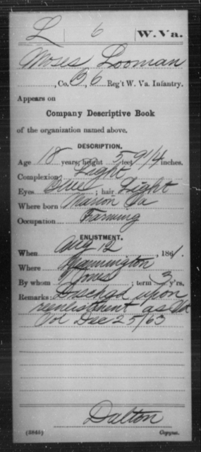 Looman, Moses - Age 18, Year: 1861 - Miscellaneous Card Abstracts of Records - West Virginia