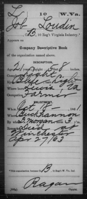 Loudin, Job - Age 21, Year: 1861 - Miscellaneous Card Abstracts of Records - West Virginia