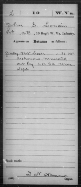 Loudin, John S - Age [Blank], Year: 1865 - Miscellaneous Card Abstracts of Records - West Virginia
