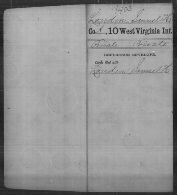 Loudin, Samuel H - Age [Blank], Year: [Blank] - Tenth Infantry - West Virginia