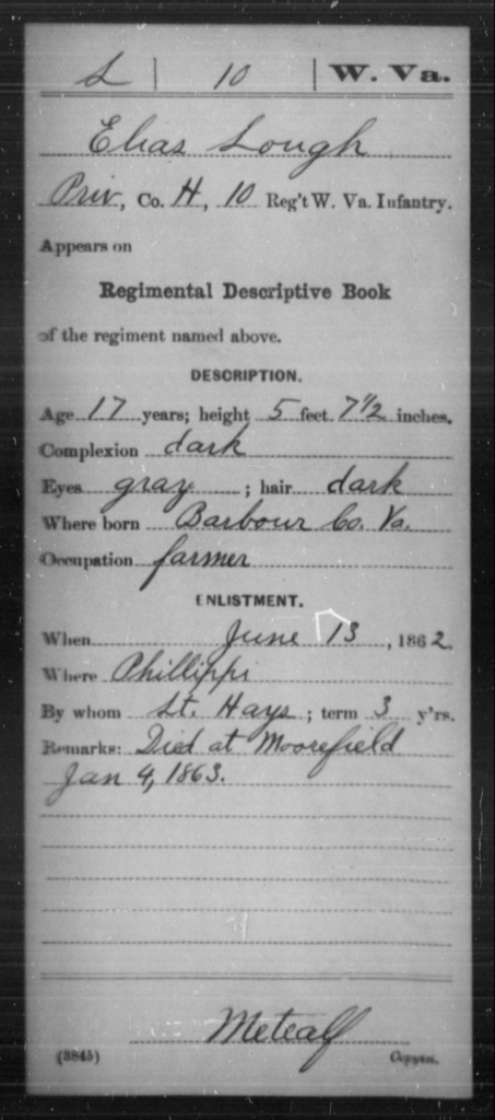 Lough, Elias - Age 17, Year: 1862 - Miscellaneous Card Abstracts of Records - West Virginia