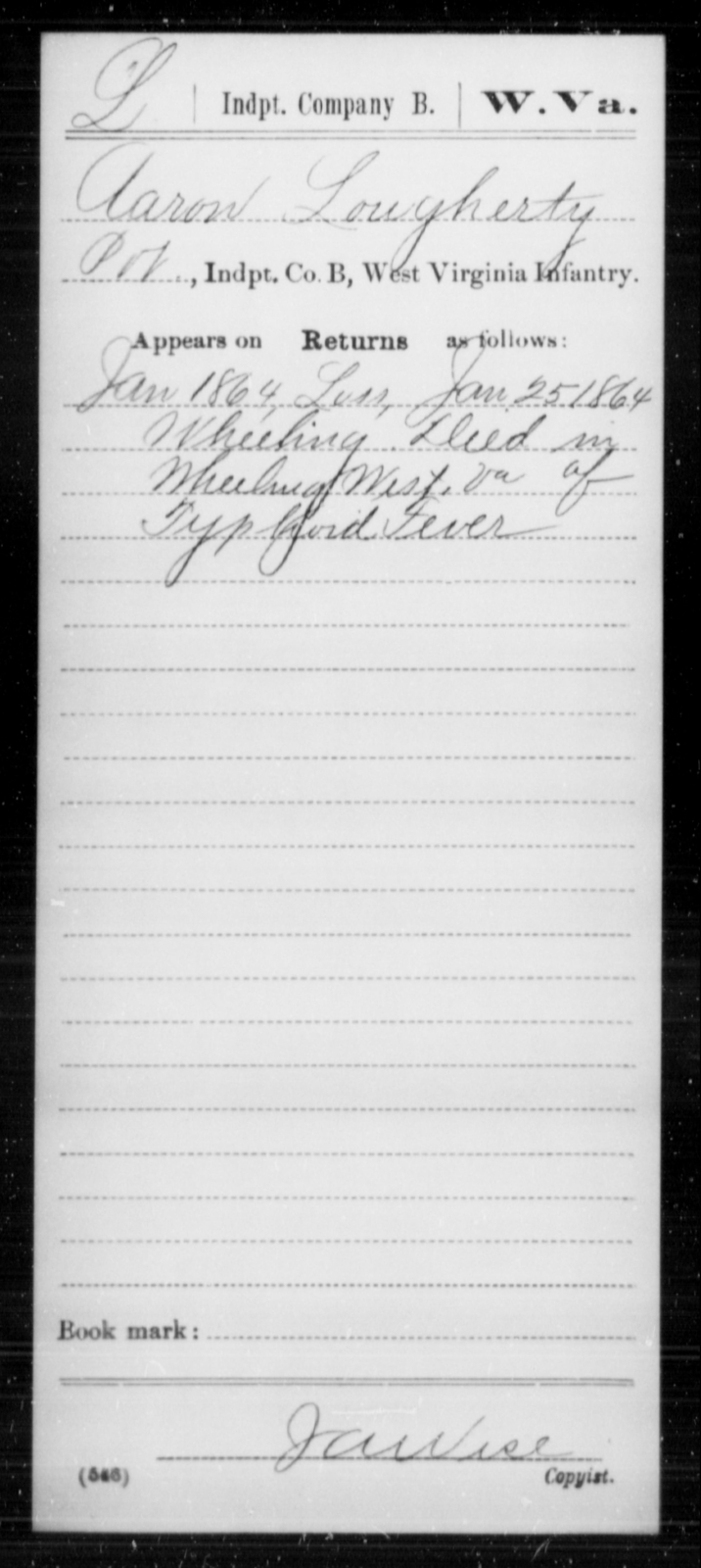 Lougherty, Aaron - Age [Blank], Year: 1864 - Miscellaneous Card Abstracts of Records - West Virginia
