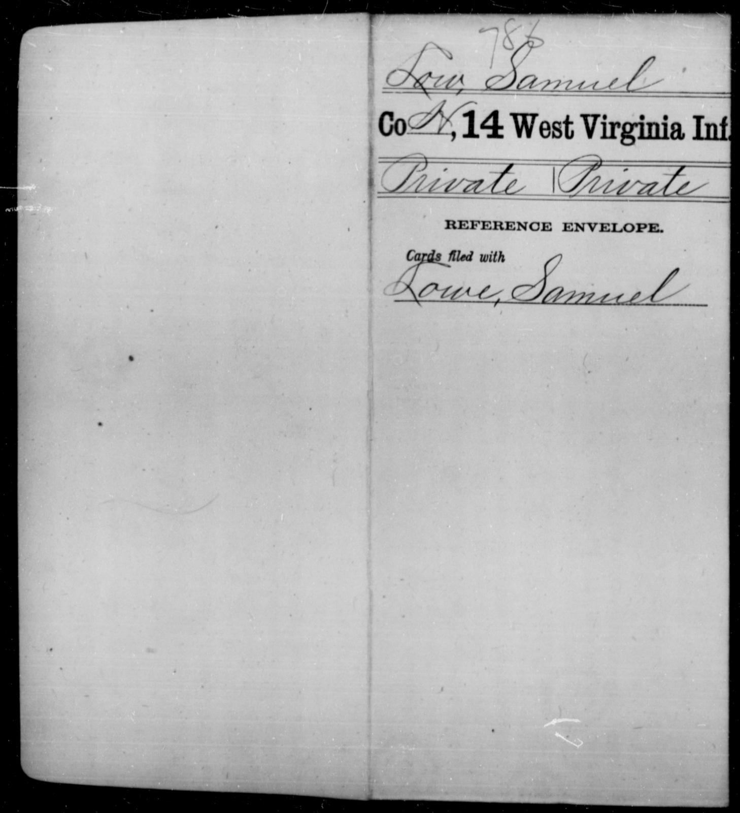 Low, Samuel - Age [Blank], Year: [Blank] - Fourteenth Infantry, C-Z - West Virginia