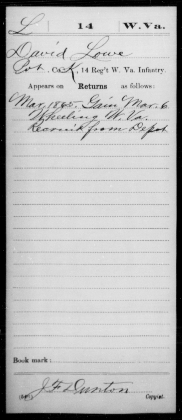 Lowe, David - Age [Blank], Year: 1865 - Miscellaneous Card Abstracts of Records - West Virginia