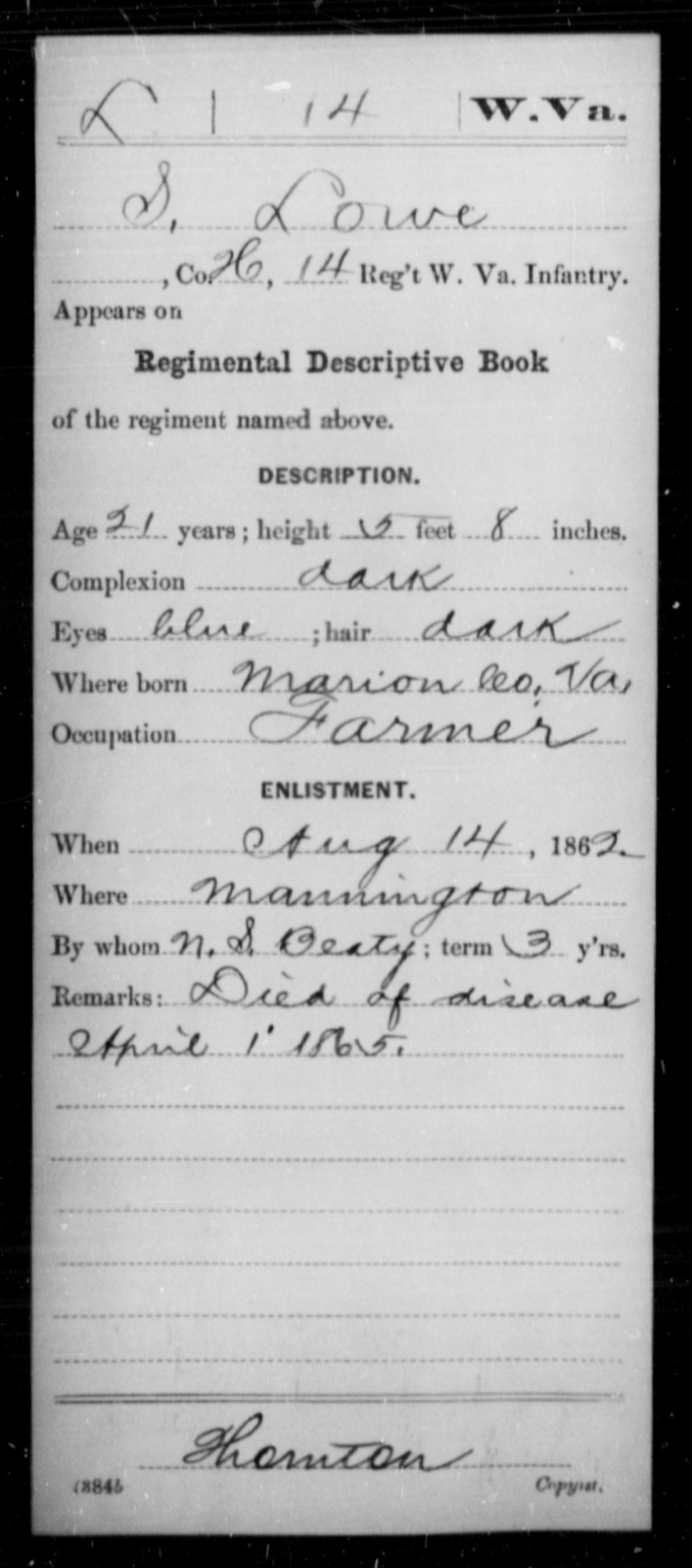 Lowe, S - Age 21, Year: 1862 - Miscellaneous Card Abstracts of Records - West Virginia