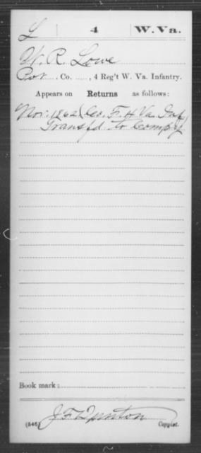 Lowe, W R - Age [Blank], Year: 1862 - Miscellaneous Card Abstracts of Records - West Virginia