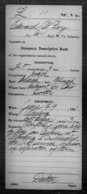 Loy, Edward W - Age 25, Year: 1861 - Miscellaneous Card Abstracts of Records - West Virginia