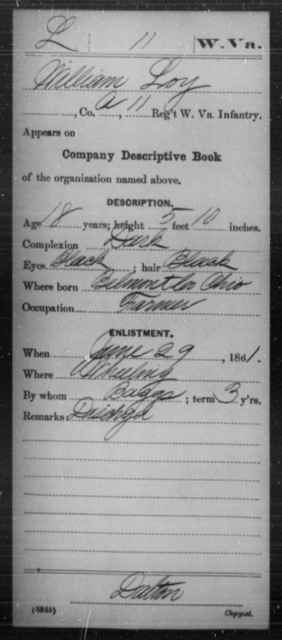 Loy, William - Age 18, Year: 1861 - Miscellaneous Card Abstracts of Records - West Virginia
